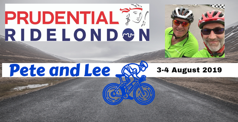 Pete and Lee participating in the Prudential Ride London