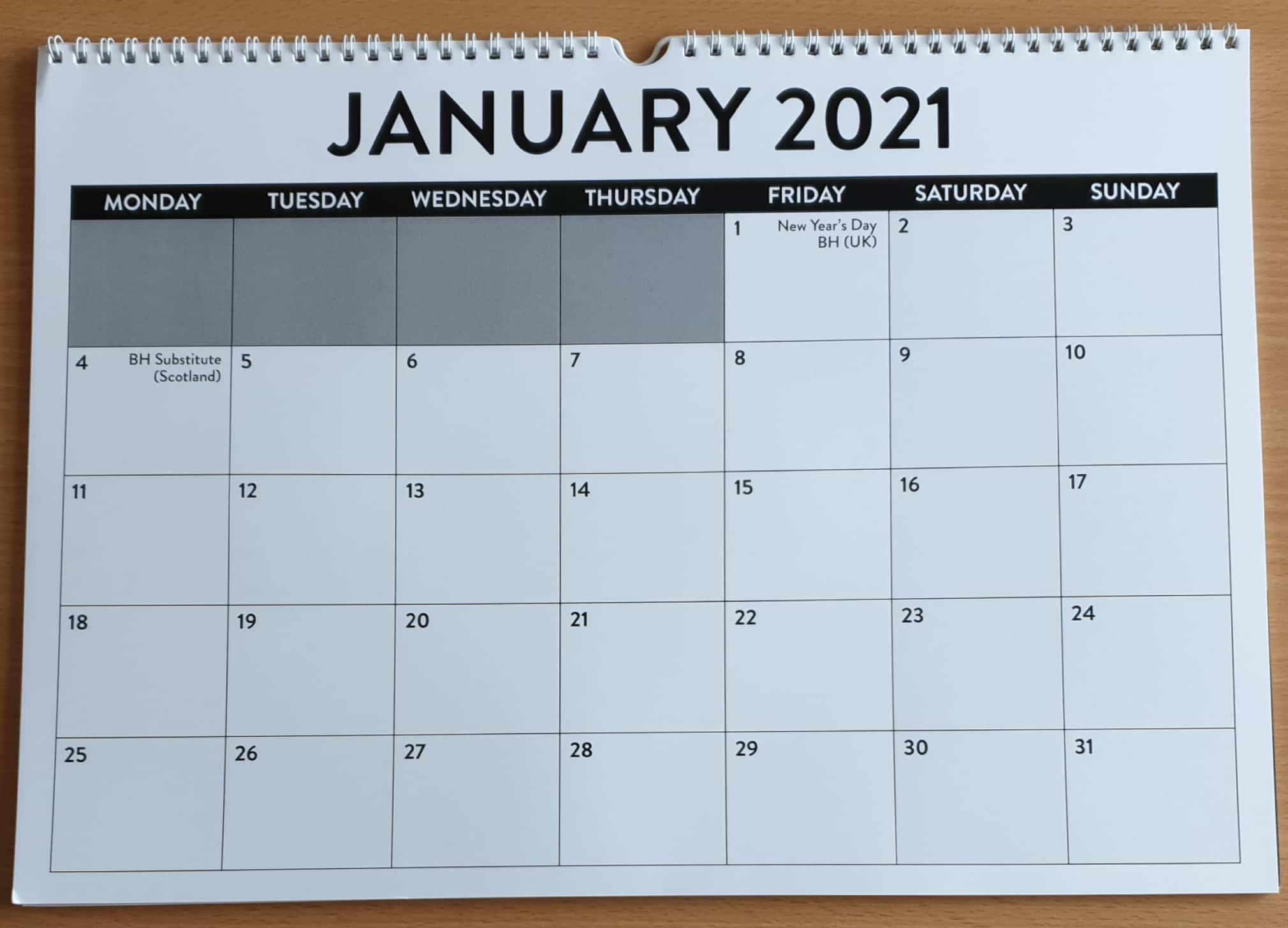 A3 Landscape Wall Calendar 2021 - Open Sight